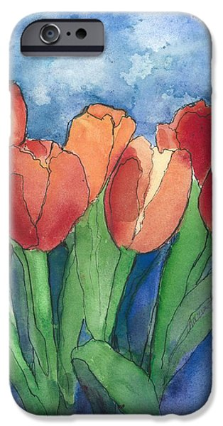 Business Paintings iPhone Cases - Tulips After the Rain iPhone Case by Maria Hunt