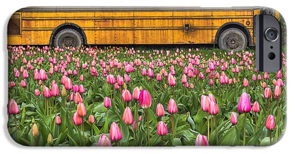 Beauty Mark iPhone Cases - Tulips and Old Bus iPhone Case by Mark Kiver