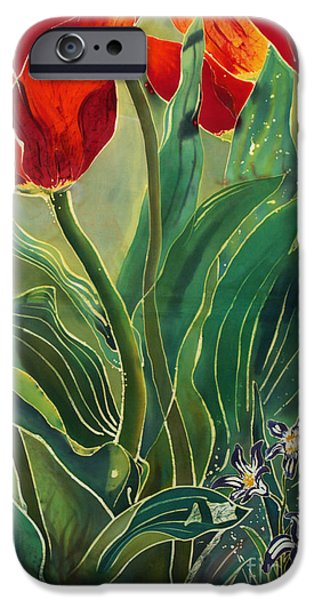 Garden Tapestries - Textiles iPhone Cases - Tulips and Pushkinia iPhone Case by Anna Lisa Yoder