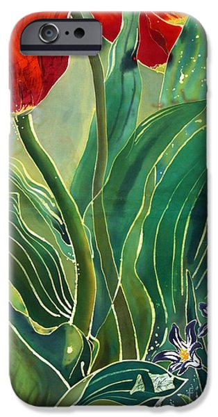 Fabric Tapestries - Textiles iPhone Cases - Tulips and Pushkinia Detail iPhone Case by Anna Lisa Yoder