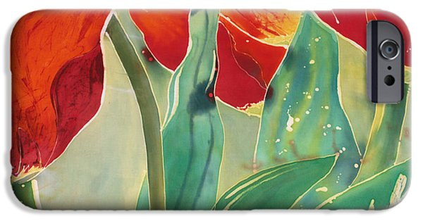 Fabric Tapestries - Textiles iPhone Cases - Tulips and Pushkinia Upper Detail iPhone Case by Anna Lisa Yoder