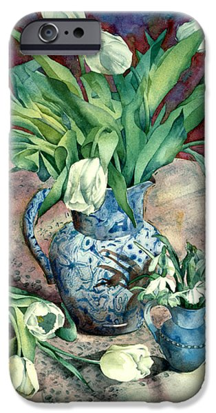 Indoor iPhone Cases - Tulips And Snowdrops iPhone Case by Julia Rowntree
