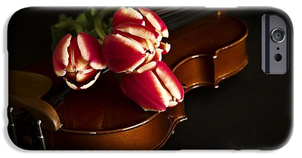 Florals iPhone Cases - Tulips and Violin iPhone Case by Edward Fielding