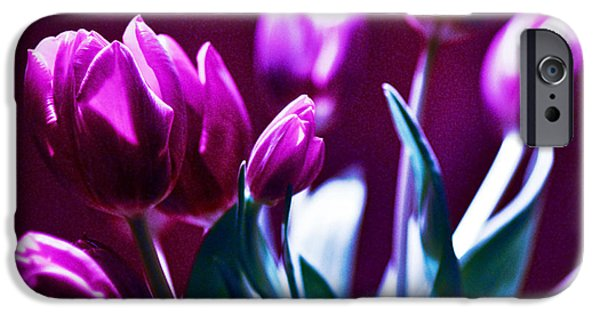 Botanical Pyrography iPhone Cases - TULIPS - Fuchsia iPhone Case by Silva Wischeropp