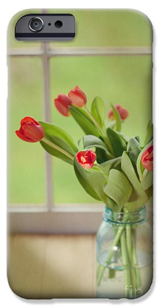 Kaypickens.com iPhone Cases - Tulips in Mason Jar iPhone Case by Kay Pickens