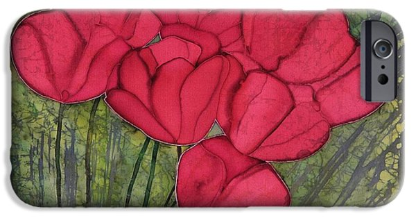 Silk Tapestries - Textiles iPhone Cases - Tulips in Spring iPhone Case by Carolyn Doe