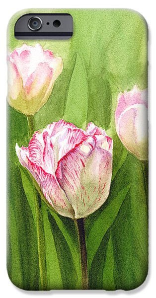Celebration Paintings iPhone Cases - Tulips in the Fog iPhone Case by Irina Sztukowski