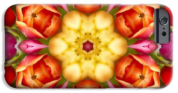Floral Digital Art Digital Art iPhone Cases - Tulips Kaleidoscope iPhone Case by Cindi Ressler