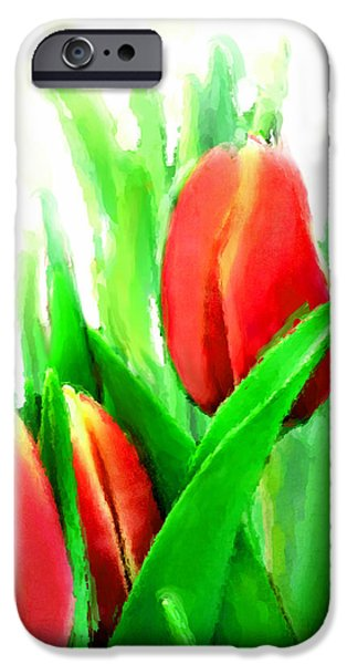 Florals Mixed Media iPhone Cases - Tulips iPhone Case by Moon Stumpp