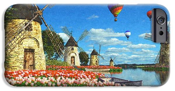 Hot Air Balloon Digital iPhone Cases - Tulips Of Amsterdam iPhone Case by Dominic Davison