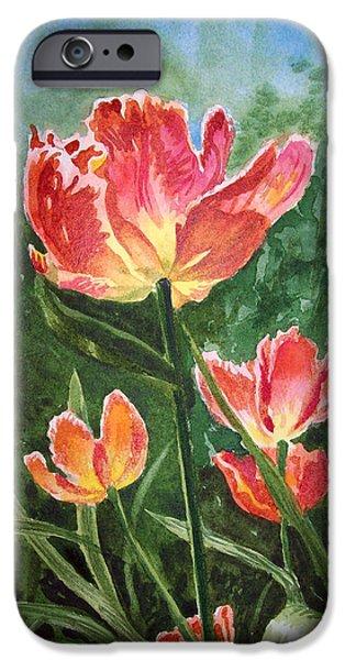 Watercolour Art iPhone Cases - Tulips on Fire iPhone Case by Irina Sztukowski