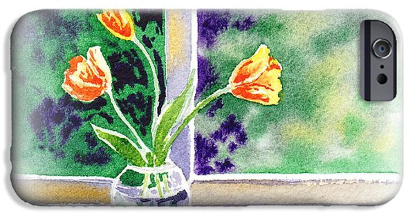 Window Cover iPhone Cases - Tulips On The Window iPhone Case by Irina Sztukowski