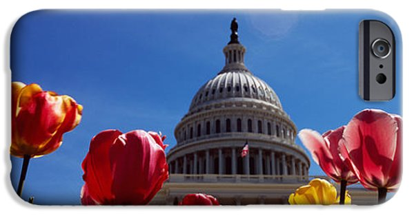 Facade iPhone Cases - Tulips With A Government Building iPhone Case by Panoramic Images