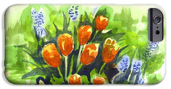 Garden Scene Paintings iPhone Cases - Tulips with Blue Grape Hyacinths Explosion iPhone Case by Kip DeVore