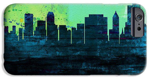Horizon Paintings iPhone Cases - Tulsa City Skyline iPhone Case by Naxart Studio