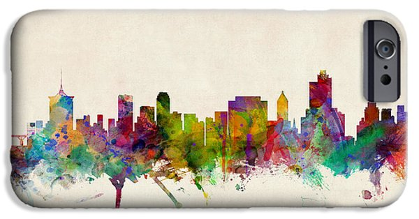 States iPhone Cases - Tulsa Oklahoma Skyline iPhone Case by Michael Tompsett