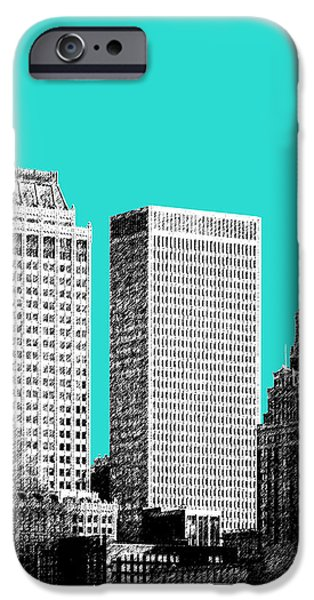 Recently Sold -  - Buildings iPhone Cases - Tulsa Skyline - Aqua iPhone Case by DB Artist
