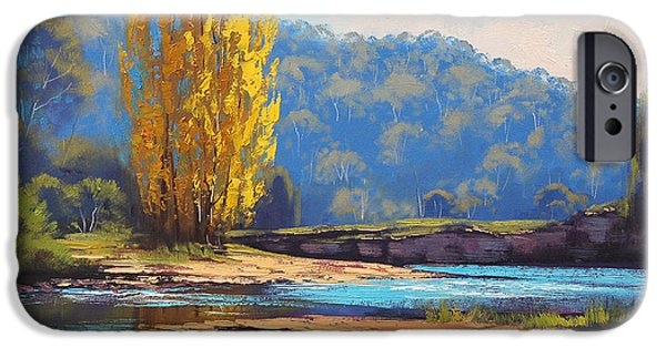River iPhone Cases - Tumut River Poplar iPhone Case by Graham Gercken