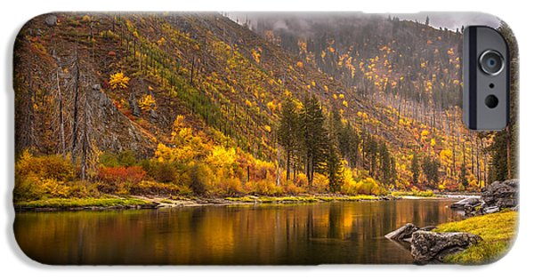 Fall Colors Photographs iPhone Cases - Tumwater Canyon Fall Serenity iPhone Case by Mike Reid