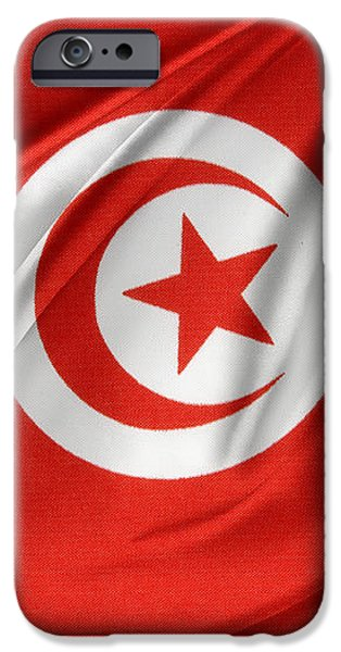 Tunisia flag iPhone Case by Les Cunliffe