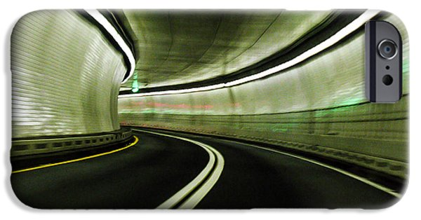 Asphalt iPhone Cases - Tunnel iPhone Case by Zina Stromberg