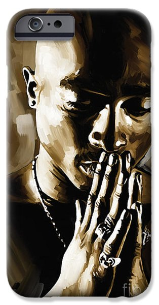 Small iPhone Cases - Tupac Shakur Artwork  iPhone Case by Sheraz A