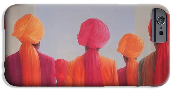 Gathering Photographs iPhone Cases - Turban Group, 2012 Acrylic On Canvas iPhone Case by Lincoln Seligman