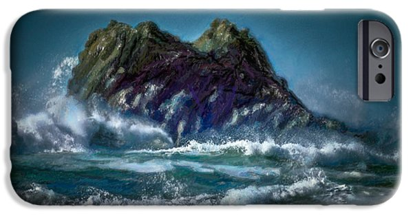 Sailboat Ocean iPhone Cases - Turbulant Sea Painting iPhone Case by F Leblanc