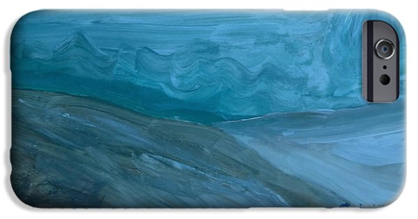 Turbulent Skies Paintings iPhone Cases - Turbulent Skies and a Glacier  iPhone Case by Carolina Liechtenstein