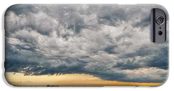 Turbulent Skies iPhone Cases - Turbulent stormy sky iPhone Case by Roberto Lo Savio