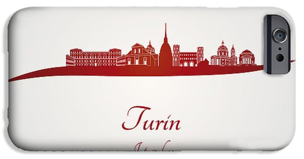Turin Digital Art iPhone Cases - Turin skyline in red iPhone Case by Pablo Romero