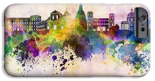 Turin Digital Art iPhone Cases - Turin skyline in watercolor background iPhone Case by Pablo Romero