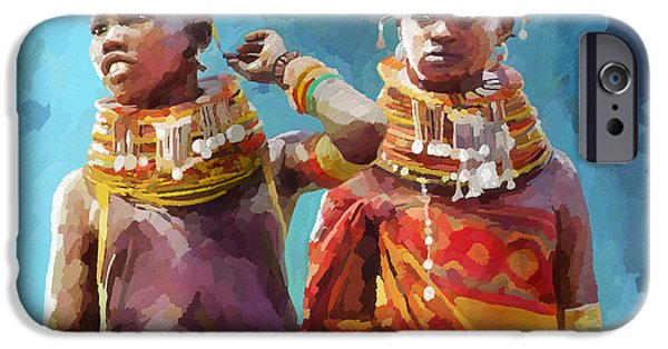 Young Paintings iPhone Cases - Young Turkana Girls iPhone Case by Anthony Mwangi