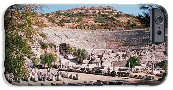 Ephesus iPhone Cases - Turkey, Ephesus, Main Theater Ruins iPhone Case by Panoramic Images
