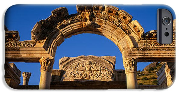 Ephesus iPhone Cases - Turkey, Ephesus, Temple Ruins iPhone Case by Panoramic Images