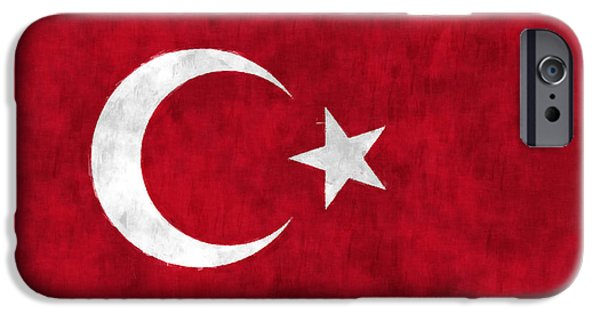 Northern Africa iPhone Cases - Turkey Flag iPhone Case by World Art Prints And Designs