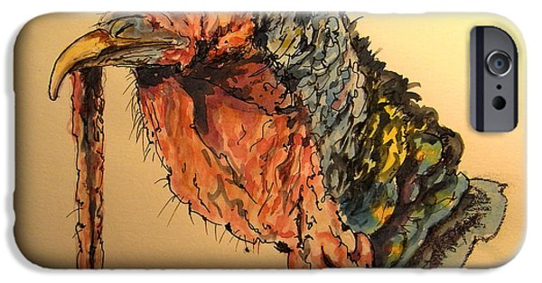 Farm iPhone Cases - Turkey head bird iPhone Case by Juan  Bosco