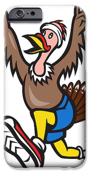 Turkey Run Runner Cartoon Isolated iPhone Case by Aloysius Patrimonio
