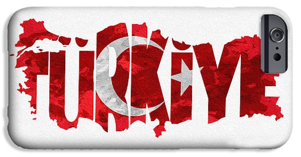 Dirty iPhone Cases - Turkey Typographic Map Flag iPhone Case by Ayse Deniz