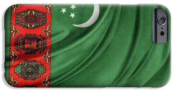 Patriotism iPhone Cases - Turkmenistan flag iPhone Case by Les Cunliffe