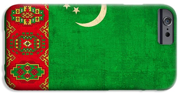 Nation iPhone Cases - Turkmenistan Flag Vintage Distressed Finish iPhone Case by Design Turnpike