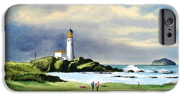 Golf Paintings iPhone Cases - Turnberry Golf Course Scotland 10th Green iPhone Case by Bill Holkham