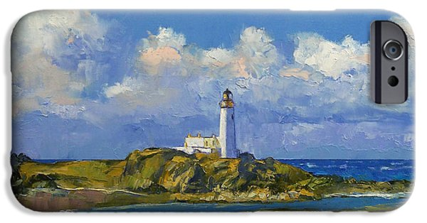 Michael Paintings iPhone Cases - Turnberry Lighthouse iPhone Case by Michael Creese