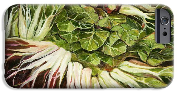 Swiss Paintings iPhone Cases - Turnip and Chard Concerto iPhone Case by Jen Norton