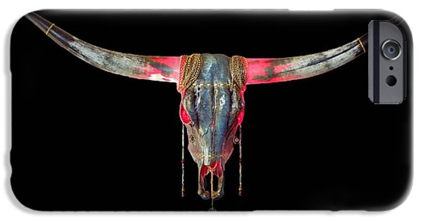 Michael Mixed Media iPhone Cases - Turquoise and Gold Illuminating Longhorn iPhone Case by Mayhem Mediums