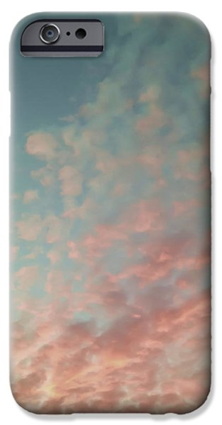 Turquoise and Peach Skies iPhone Case by Holly Martin
