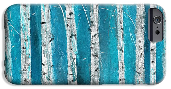 Turquoise iPhone Cases - Turquoise Birch trees II- Turquoise Art iPhone Case by Lourry Legarde