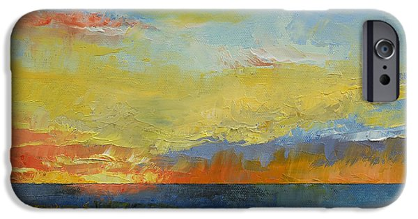 Michael iPhone Cases - Turquoise Blue Sunset iPhone Case by Michael Creese