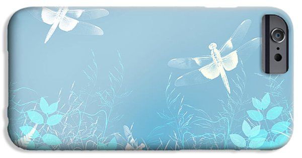 Wall Greeting Cards Digital iPhone Cases - Turquoise Dragonfly Art iPhone Case by Christina Rollo
