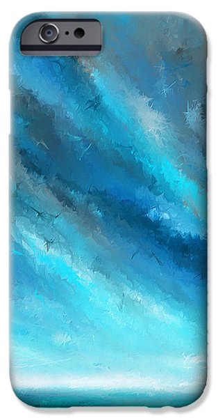 Abstract Seascape Paintings iPhone Cases - Turquoise Memories - Turquoise Abstract Art iPhone Case by Lourry Legarde